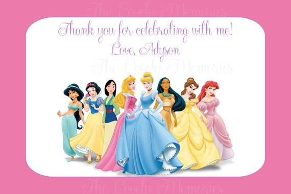 Items similar to Disney Princess Birthday Thank you Cards – Disney Princess Printable Birthday Cards