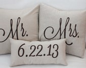 Mr. & Mrs. Custom Pillow Cover with Wedding Date --100% Linen Pillow-- Wedding Decor -- Wedding Gift -- Personalized Pillow- shabby chic - SoVintageChic