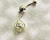 Belly Ring, 925 Sterling Silver Shimmery Snow White Rose, Belly Button Ring, Belly Button Jewelry For Women and Teens