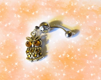 SALE- Belly Ring, Tibetan Silver Owl With Crystal Gold Eyes And Body, Belly Button Ring, Belly Jewelry For Her 1A130