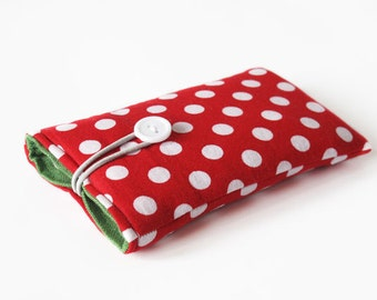 mobile phone sleeve bag for iPhone 6S red dotted case fabric cover bags padded handmade