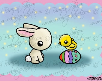 Happy Easter Card - Bunny Chick and eggs Art Print - ReLove Plan.et