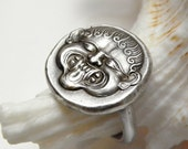 Gorgon face ring,custom made, based on Neapolis coin, sterling silver