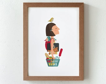 Illustration. Working Woman. Print. Wall art. Art decor. Hanging wall. Printed art. Decor home. Gift idea Bedroom. Sweet home. Tutticonfetti