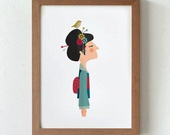 Illustration. Shizuka. Japan. Print. Wall art. Art decor. Hanging wall. Printed art. Decor home. Gift idea. Sweet home. Tutticonfetti.
