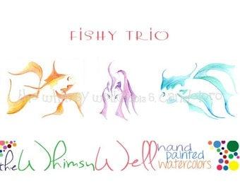 Three Piece 5x7 Watercolor Collection - Fish, Goldfish, Red Fish, Blue Fish - Fishy Trio
