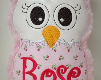 Light Pink Rose Owl Reading Buddy Pillow, Soft Toy