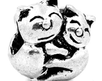 Happy Kitty Cats European Charm Bead - Large Hole Beads For All European Charm Bracelets - Gift For Multiple Cat Households
