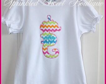 Monogram Summer Seahorse Applique Shirt