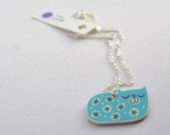 Cat Necklace Pendant in Aqua and Mint Green, Handmade Happy Cat Design
