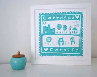 Cardiff Caerdydd Welsh Screen Print in Aqua - Hand Printed Limited Edition of 250