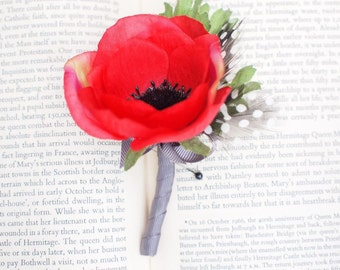 Vibrant Red Silk Poppy Boutonniere Buttonhole Pin on Corsage