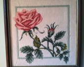 Beautiful shabby rose framed needlepoint picture