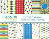 Circus Carnival Digital Papers - INSTANT DOWNLOAD - Printable JPGs - Scrapbook Paper Pack, Birthday, Invitations