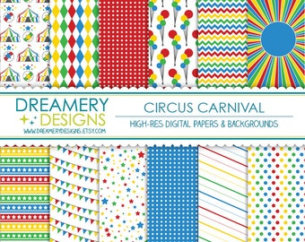 Circus Carnival Digital Papers - INSTANT DOWNLOAD - Printable JPGs - Scrapbook Paper Pack, Birthday, Invitations