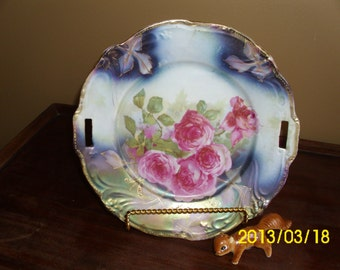Antique Cake Serving/Display Plate/Dish-Vivid Pink Roses/Green/Blue/Gold Gilt