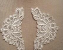 SALE 6 Vintage Lace applique Venetian, Bridal appliques, lace applique, venise lace applique, ivory lace patch (10-054)