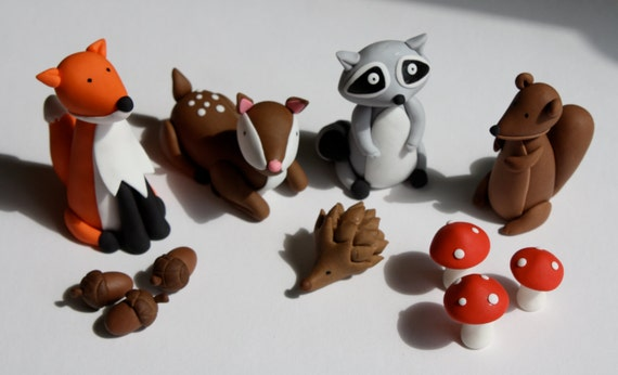 Fondant Woodland Animals Cake Topper Set 11 Pieces By
