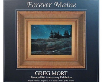 Poster by Greg Mort Forever Maine of Milky Way Ocean and Rocky Coast