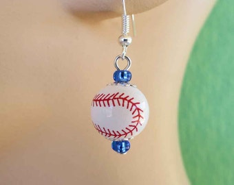 Red, White and Blue Baseball Earrings FREE USA Shipping