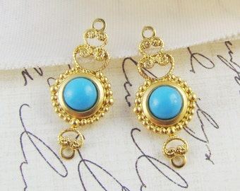 Lacey Brass Filigree & Vintage Turquoise Glass Stone Earring Dangles Connectors - 2