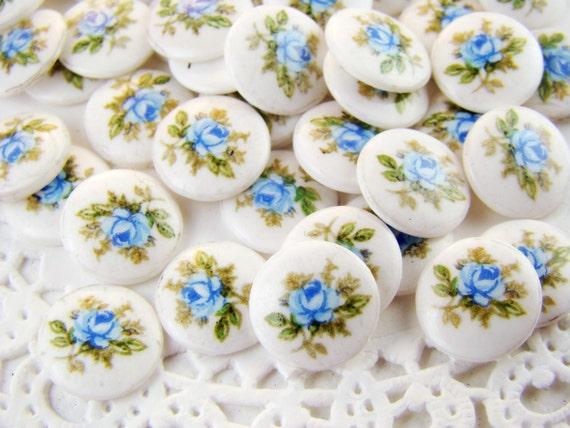 Vintage Blue Rose Limoge Cabochons 10mm Round Glass - 6