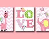 Baby Girl Nursery Art Print Children Wall Art Baby Room Decor Kids Print set of 3 8x10 Elephant Giraffe Bird Rose Purple Pink Baby Art Print