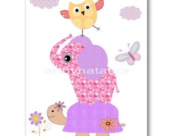 Baby Nursery Childrens Art Kids Art Kids Wall Art Baby Girl Nursery Baby Girl Room Decor Nursery print Print owls decoration violet