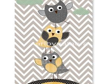 Childrens Art Owl Decor Nursery Art Print Childrens Wall Art Baby Boy Nursery Art Kids Print Nursery Decor Boy 8x10 Owl Artwork Yellow Grey