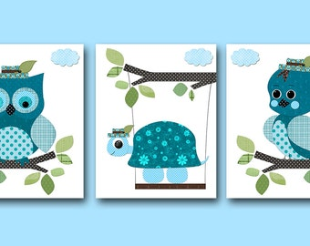 Owl Bird Turtle Nursery Baby Boy Nursery Art Print Childrens Wall Art Baby Room Decor Kids Print set of 3 Bird Owl Turtle Blue Green