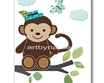 Monkey Nursery Baby Boy Nursery art print Children Wall Art Baby Room Decor Kids Print Nursery Decor Boy Baby Wall Art monkey blue green
