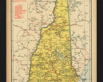 Vintage Map of New Hampshire from 1944 Original