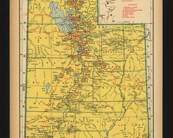 Vintage Map of Utah From 1944 Original