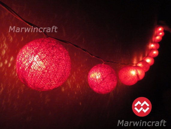 Red String Lights For Bedroom : Red String Lights Cotton Balls Fairy Lights Bedroom Home Decor