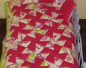"6 Piece pinwheel Doll Bedding Set Handmade to Fit any 18"" doll bed"