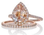 Bridal Set with matching band 14K Rose Gold Pear Cut Shape Diamond Halo Morganite Engagement Solitaire Wedding Anniversary Gemstone Ring
