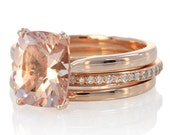 Rose Gold 9x7 mm Cushion Cut Morganite Solitaire Engagement Ring Bridal Set including One Diamond Band and One Gold Band