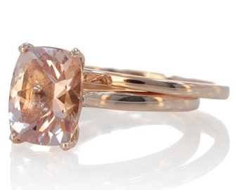 Rose Gold Set 9x7 mm Cushion Cut Morganite Solitaire Plain Gold Shank Engagement Ring Bridal Anniversary Ring