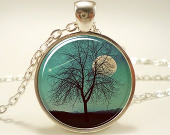 Tree Necklace, Shooting Star And Moon Jewelry, Comet Pendant (1372S1IN)