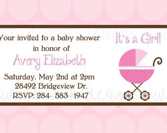 Pink Baby Stroller- Baby Shower Invitation