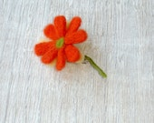 Brooch Flower Jewelry Orange  - chamomile orange- orange yellow green- women gift -   flower jewelry