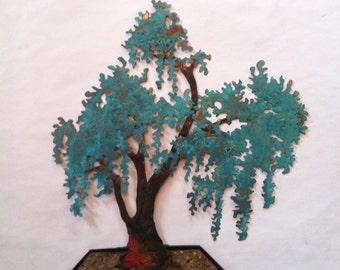 Commission Han Kengai Wisteria Copper Bonsai with Plexiglass base  Large Wall Art