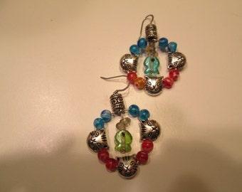 Cat and Fish dangle earrings