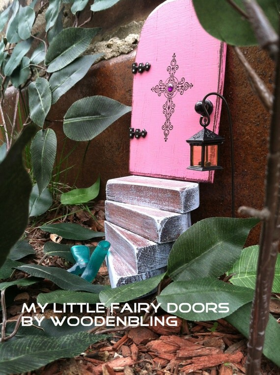 3 piece fairy garden set fairy door fairy garden pink fairy for Pink fairy door