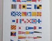 Nautical Flag Alphabet Watercolor Print - Unframed