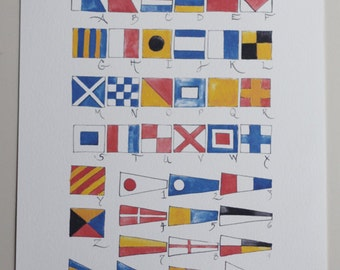 Nautical Flag Alphabet Watercolor Print - Unframed