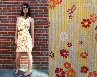 Picnic in the Summertime Yellow Gingham Red Orange & White Floral Dress