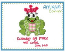 920 Frog Someday My Prince Will Come Valentine's Day applique design in digital format for embroidery machine by Applique Corner