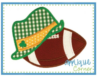 Football with Irish Lucky Hat applique digital design for embroidery machine by Applique Corner