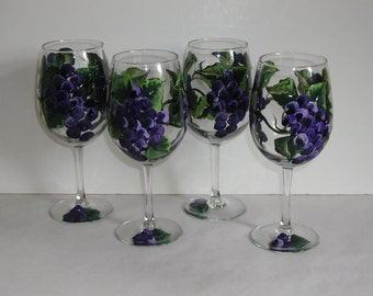 Four Handpainted Grapes Wine Glasses